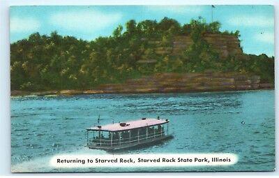 Boat Trip Illinois River Starved Rock State Park Boat Tour Vintage Postcard D38