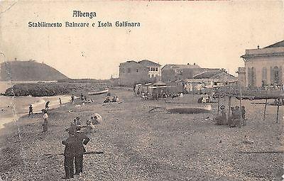0032) ALBENGA (SAVONA) STABILIMENTO BALNEARE E ISOLA GALLINARA, ANIMATA. VG 1914