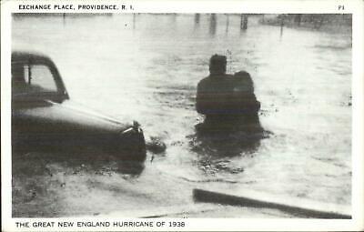 Providence RI Exchange Place Flood 1938 Hurricane Postcard