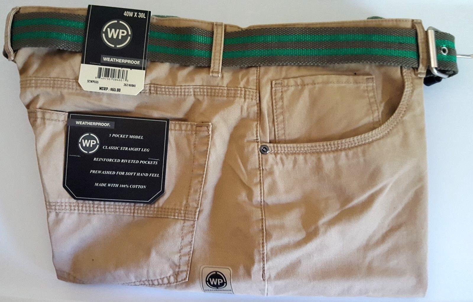 NEW Men/'s Weatherproof Classic 5 Pocket Straight Leg Pants Black Size 40 x 32