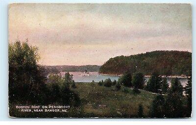 *Boston Steamer Boat Penobscot River Near Bangor Maine ME Vintage Postcard C18