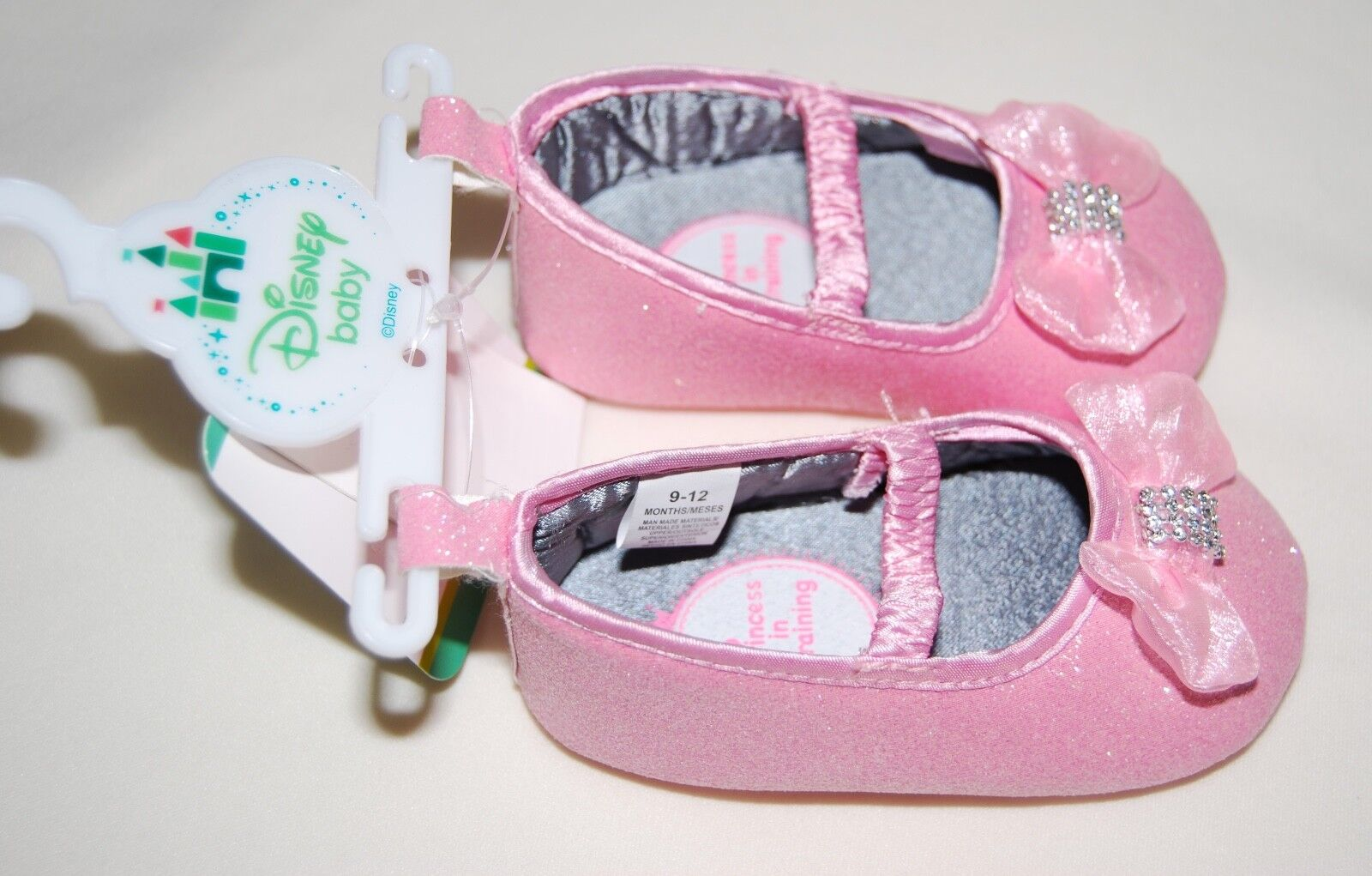 NWT Disney Baby Infant Girls Pink Princess Rhinestone Bow Cr