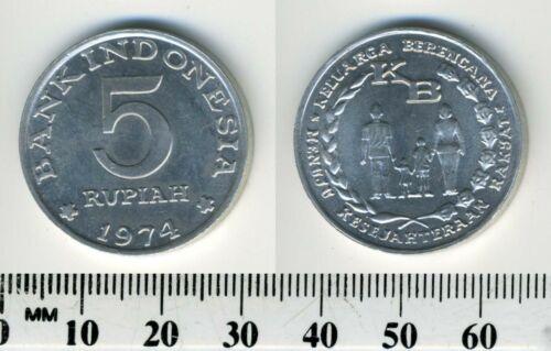Indonesia 1974 - 5 Rupiah Aluminum Coin - Family Planning Program