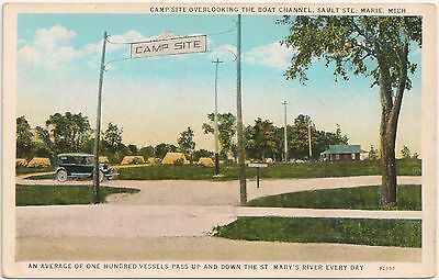 Camp Site Overlooking Boat Canal in Sault Ste. Marie MI Postcard