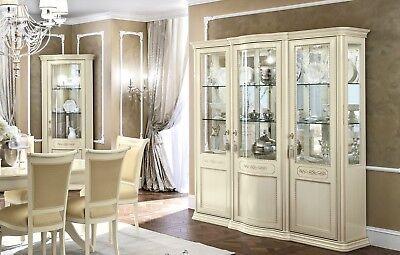 Italienische Möbel Holz (Vitrine Wohnzimmer Buffetschrank Beige Massivholz Klassischе Italienische Möbel)
