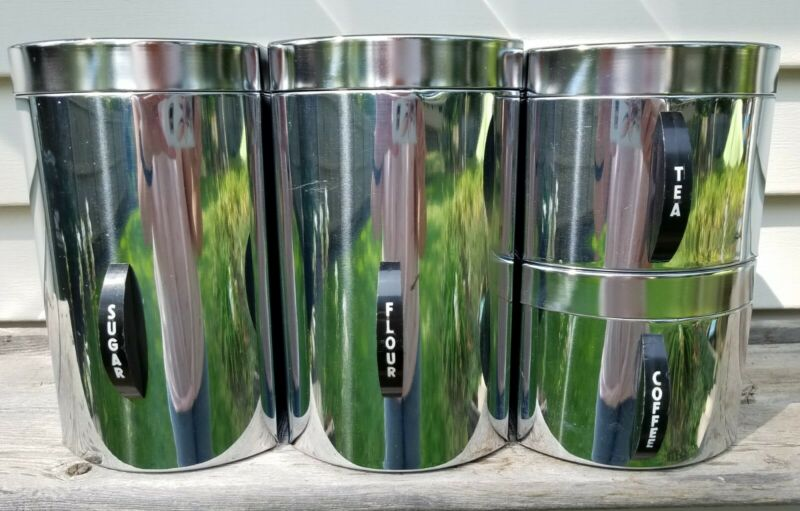 Set of 4 Vintage Mid Century Modern Kromex Stainless Kitchen Canisters Stackable
