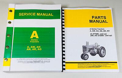 Service Manual Set For John Deere A Aw Ah An Ar Ao Tractor Service Repair Parts