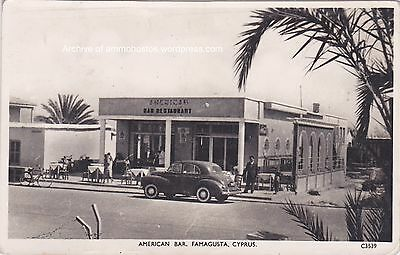 CYPRUS POSTCARD FAMAGUSTA AMERICAN BAR 1950 ANDREAS SOTERIOU