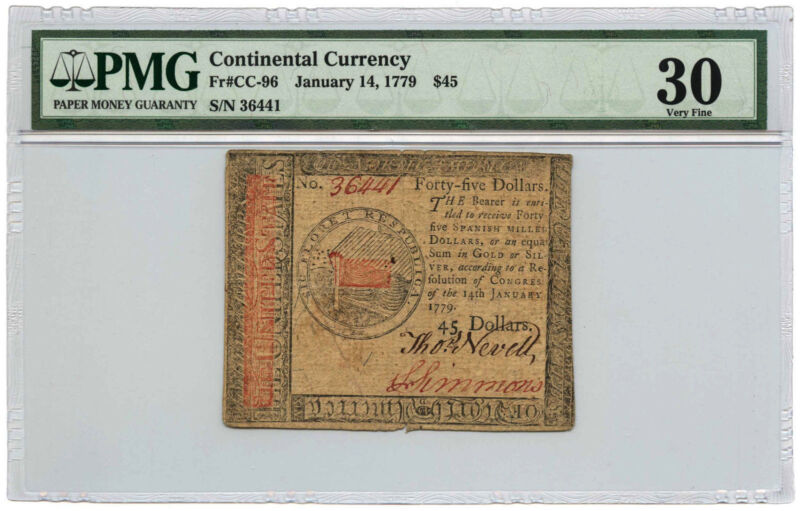 January 14, 1779 $45 Continental Currency PMG VF-30 Fr #CC-96