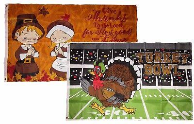 3x5 Happy Thanksgiving 2 Pack Flag Wholesale Set Combo #5 3'x5' Banner Grommets - Happy Thanksgiving Banners