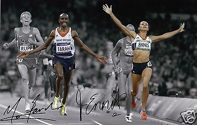 JESSICA ENNIS & MO FARAH AUTOGRAPH SIGNED PP PHOTO POSTER