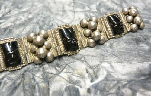 Vintage Mexican Onyx And Sterling Aztec Mask Panel Bracelet