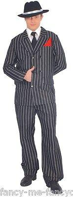 Herren 1920er Jahre Nadelstreifen Gangster Bugsy Malone Kostüm Kleid Outfit