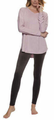 Felina Pajama Lounge Knit Ultra Lux Velour Legging Set Size XL Pink Brown NEW -