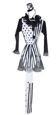 Girls Black White JESTER Renaissance Fair Halloween Costume Purim 8 10 12 14 NEW