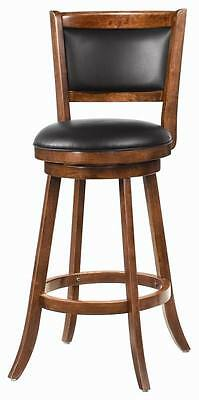 - Solid Wood Dark Chestnut Swivel Bar Stool Chair by Coaster 101920 - Set of 3
