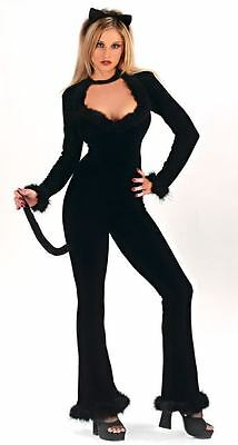 You Sexy Feline Black Kitty Cat Jumpsuit Womens Adult Costume size s/m FW 5128
