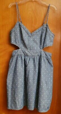 Abercrombie & Fitch Chambray Dot Side Cut Out Dress L EUC Summer - Side Cut Outs Mini