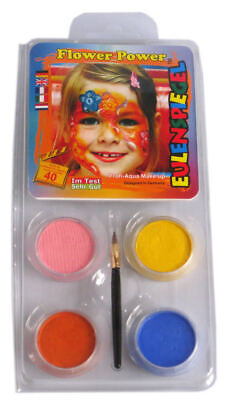 Flower Face Painting Halloween (Halloween Face Paint - Flower Power Make Up - Blue Yellow Pink Orange w)