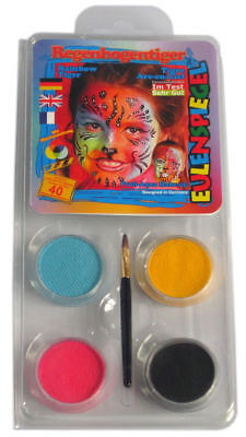 Halloween Face Paint - Tiger Make Up - Black Pink Yellow Turquoise w Brush