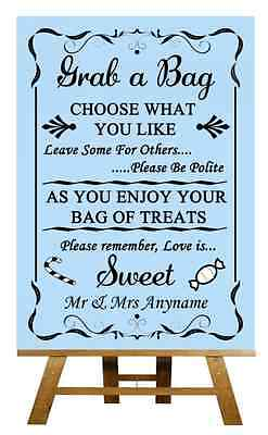 Blue Candy Buffet Sweet Cart Poem Personalised Wedding Sign / Poster