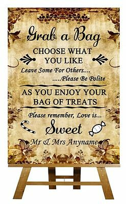 Autumn Vintage Candy Buffet Sweet Cart Poem Personalised Wedding Sign / Poster - Fall Candy Buffet