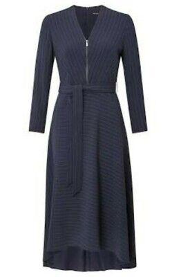 Karen Millen Pinstripe Belted Longsleeve Dress In Navy, Uk Size 10  (16)