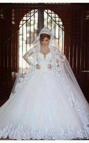 UK New White/Ivory long Sleeve lace wedding dress bridal Gown Size 6-18