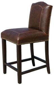 Kitchen Counter Height Stool with Backin Antique Brown Leather