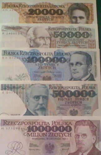 POLAND  set   20.000-50.000-100.000-500.000-1.000.000  zlotych  UNC  ( 5 pcs )