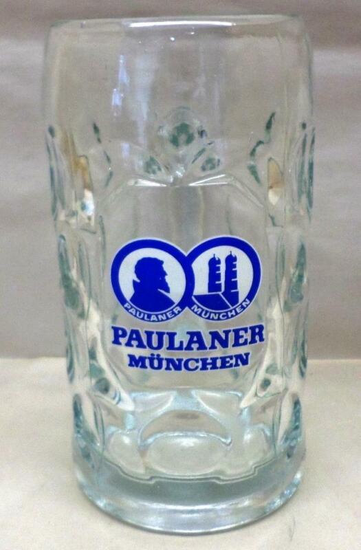 Paulaner Munchen 1 Liter German Beer Stein Mug Rastal Dimpled Glass Oktoberfest