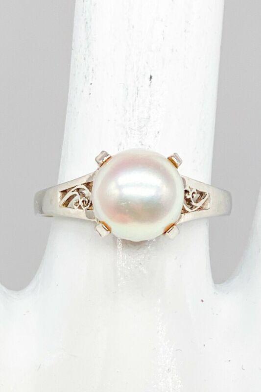 Designer $3000 Natural South Sea Pearl Platinum Filigree Band Ring