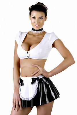 Lack-Servierset Black Level Dienerin Kostüm bauchfrei Vinyl Maid Top Rock L XL