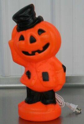 Vintage Empire Plastic Halloween Blow Mold Pumpkin Man Suit & Top Hat