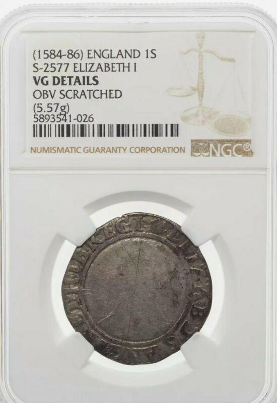 ENGLAND. Elizabeth I. Silver Shilling, 1584-6, S-2577, NGC VG Details