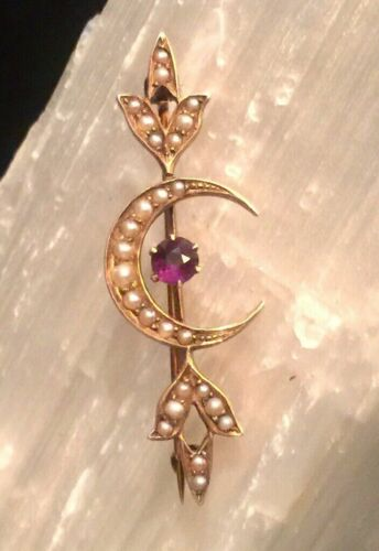 Antique Victorian 14K Gold Amethyst Seed Pearl Crecent moon Sweetheart Brooch