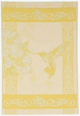 NEW Jacquard Hummingbird Kitchen Tea Towel Yellow Cotton Bird Lover Gift Linens