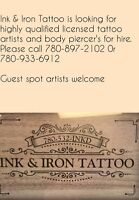 Tattoo artist wanted along with body piercer!!