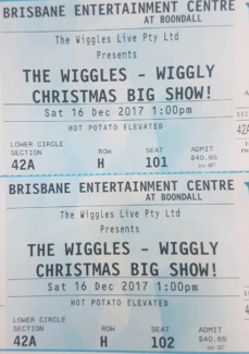 wiggles tickets x2 for Saturday 16th december