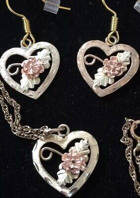 "Black Hills Gold 18"" Heart Dakota Rose 3.3g10k/12k Set QVC HSN Retail $479 ()"