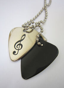 TREBLE CLEF - Metal Guitar Pick Necklace **NEW** MUSICAL NOTE - FASHION