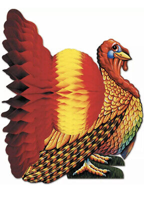 New THANKSGIVING Madras Table Decoration HONEYCOMB TURKEY CENTERPIECE 12 inches
