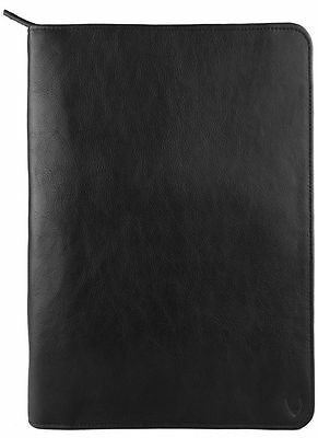New Hidesign Leather Zip File Folder Writing Padfolio With Tablet Pocket Black