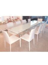 KING Modern Lge Adjustable 10-12 Seater Glass Dining Table 10 chairs New Farm Brisbane North East Preview
