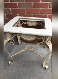Very Heavy Antique Wrought Iron Square Side Table