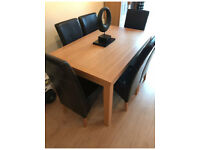 Solid Oak Kitchen Table & 6 Leather Chairs