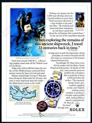 1991 Rolex Submariner Date watch scuba diver diving photo vintage print ad