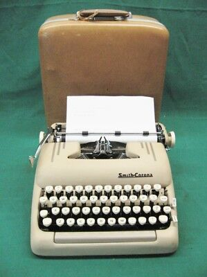 Art Deco 1956 5t Smith Corona Silent Super Sand Portable Typewriter Near Mint