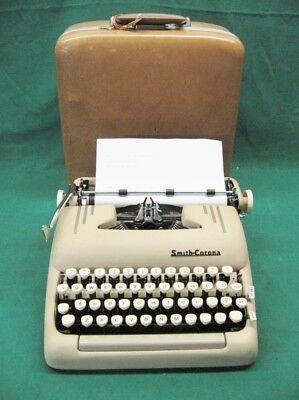 Art Deco 1956 5t Smith Corona Silent Super Sand Portable Typewriter Near Mint
