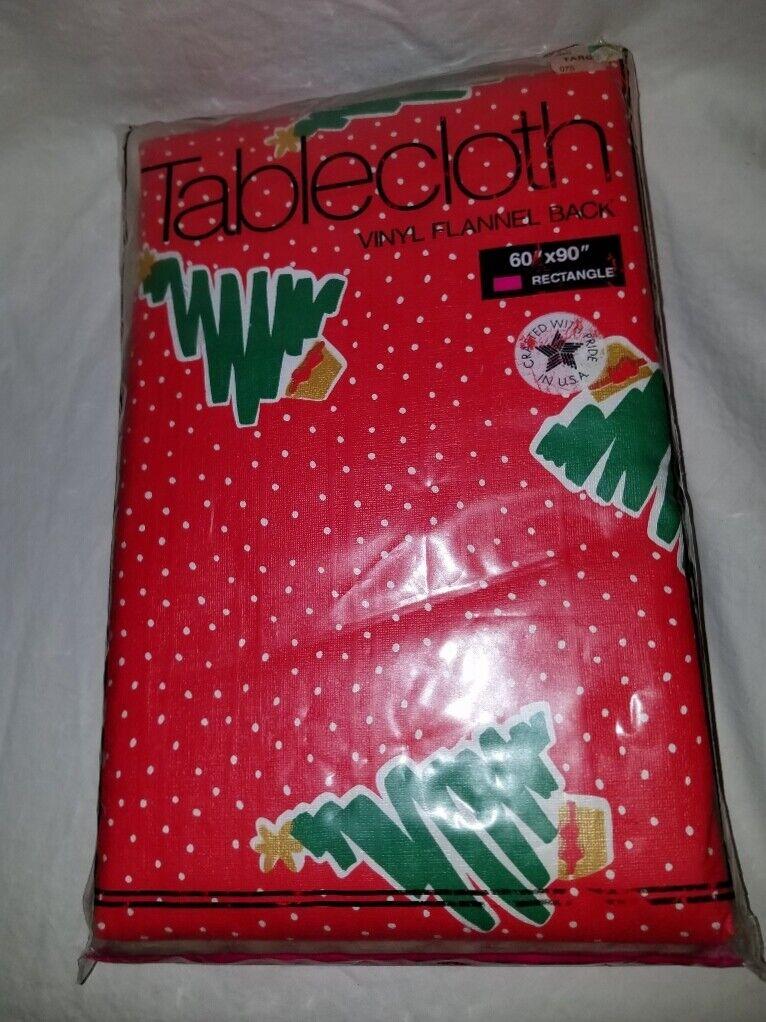 VTG 90's NEW Tablecloth Vinyl Flannel Back Christmas Tree Re
